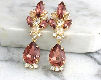 Bridal Blush Earrings, Blush Chandelier Earrings, Swarovski Blush Earrings, Blush Long Earrings, Bridal Earrings, Dark Pink Dangle Earrings