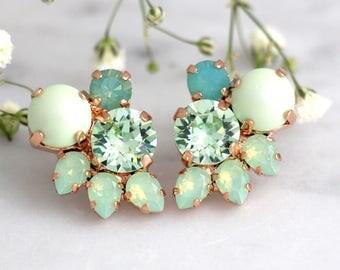 Mint Earrings, Mint Stud Earrings, Bridal Earrings, Mint Bridal Earrings, Bridesmaids Earrings, Mint Opal Earrings, Mint Green Earrings