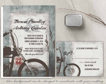 Motorcycle Wedding Invitation Biker Bride Wedding Invitations for Biker Harley Davidson Weddings Route 66 Wedding DIY Printable Templates