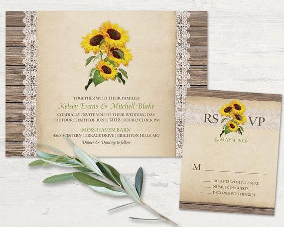 Rustic Wedding Invitation Sets: Rustic Sunflower Wedding Invitations Set Rustic Sunflower