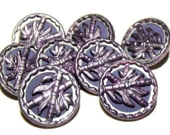 Antique Buttons ~ Metal Button Set Original Purple Tint Bamboo Plant