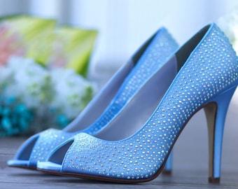 """Crystal Wedding Shoes- 3.5"""" High Heels"""