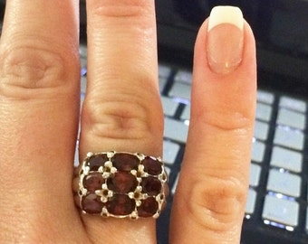 70% OFF MOVING SALE Must Have Sterling Silver Garnet Ring ---Channel Setting --Size 7