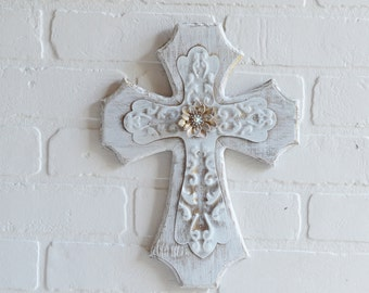 Shabby Cross, Wood Cross, Metal Cross, Embellished Cross, Shabby Religious, Religious Decor, Shabby White, Vintage Cross, Tin Cross,