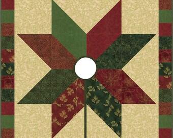 Starlight Tree Skirt Quilt ePattern, 2416-19, Christmas Tree Skirt, star tree skirt, hoffman fabrics, winter blossom