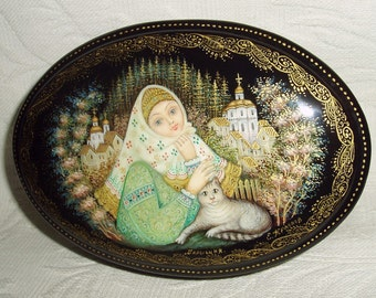 """Russian Lacquer box Palekh """" Village Beauty """" miniature Hand Painted"""