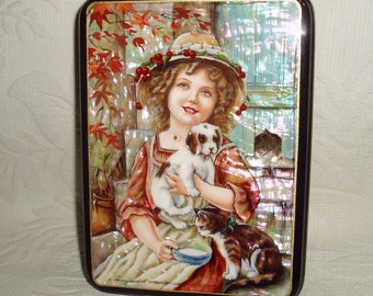 """Russian Lacquer box Mother of pearl Fedoskino """" Girl with pets """" Hand Painted"""