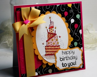 "Birthday Card - Handmade Birthday Greeting Card - 3D Card - 5.25 x 5.25"" Happy Birthday To You Cake Celebration Gift Stationery OOAK"