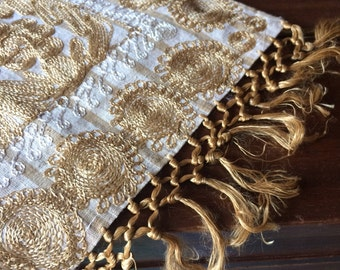 Placemat Tablerunner Dresser Scarf Gold Embroidered Boho Chic