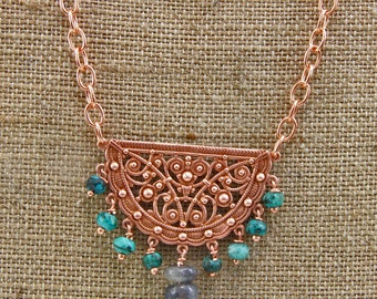Handmade Jewelry Necklace Copper Turquoise Labradorite  Beaded  Copper Necklace Oscarcrow