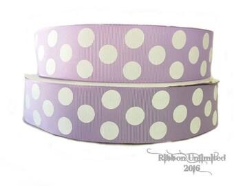 "10 Yards 1.5"" Lavender Jumbo Polka Dot grosgrain ribbon LOW SHIPPING COST"