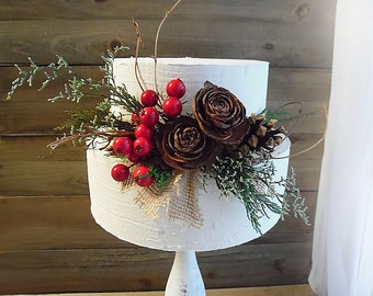 Ready to Ship ~~~ Rustic Christmas Wedding Cake Topper Pick Spray, Pine Cones, Artificial Berries, Preserved Greens, Grapevine Twigs, Burlap