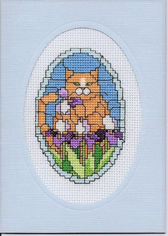 Cross Stitch All Occasion Cat Card Finished Completed Pale Blue Card