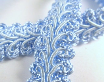 Light Blue 1/2 inch or 13mm Romanesque Flat Gimp Trim sold by the yard