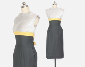 Vintage 50s Wiggle DRESS / 1950s Gray & Yellow Colorblock Bow Fitted Cotton Sheath Dress XS