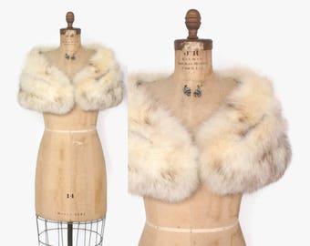 Vintage 50s FOX STOLE / 1950s Arctic White Genuine Real Fox Plush Bridal WRAP Shawl osfm