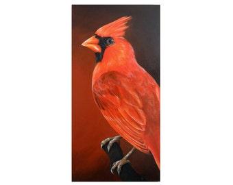 Cardinal painting 12x24 HUGE red bird art on canvas - oversize art - red songbird - monochrome - cardinal art - backyard bird
