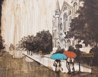 The sacred Heart church, Augusta Georgia, mixed media art print, rain art print, Limited edition, archival paper reproduction