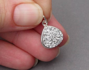 Crystal Drusy Druzy Titanium Silver Quartz Pendant,  Druzy Bracelet Charm, Druzy Necklace Pendant with Sterling Silver Jump Ring Stones 5