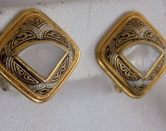 Vintage earrings, Spanish damascene and mother-of-pearl clip-on earrings, antique earrings, vintage jewelry