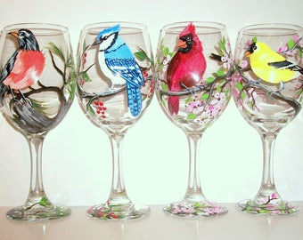 Birds Hand Painted White Wine Glasses Set of 4  Birds Hand Painted Cardinal, Blue Jay, Robin, Goldfinch, Red Bird Bluejay Gift Flowers