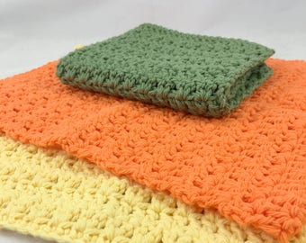Cotton wash cloths, eco-friendly dish cloths, yellow orange green washcloths