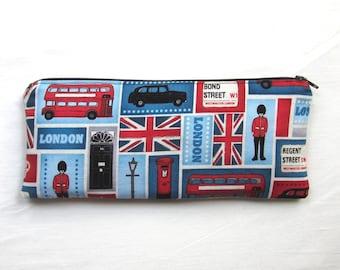Skinny London Zipper Pouch / Pencil Case