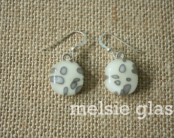 Sand Speckle modern glass earrings, neutral jewelry, small cream-colored dangles