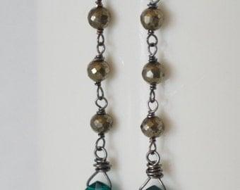 Teal Blue Quartz Earrings,  Pyrite Chain Earrings,  Steely Gray Black Silver Earrings, Skinny Dangle Earrings