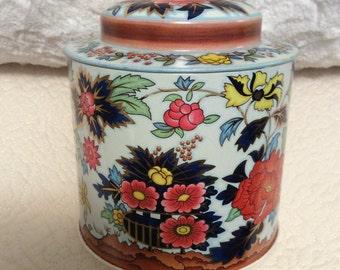 Vintage England Floral Tin Box by Daher Orange 1960s Flower