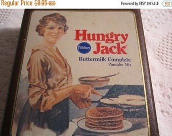 Vintage Hungry Jack Pancake Tin Container by Pillsbury Americana Advertising Brown Gold