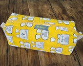 Studio and Sample Sale - Small Box Bag, Cosmetic Bag or Pencil Case - Yellow Toasters