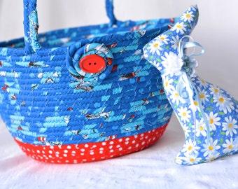 Blue Easter Basket, Handmade Easter Bucket, Lego Storage, Easter Egg Hunt Bucket, Easter Decoration, Boys Toy Storage Basket