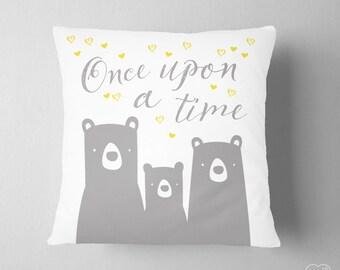 Bear Family Pillow, Fairy Tale Three Bears Pillow, Grey Yellow Nursery Decor, Once Upon A Time Decor, Baby Girl Decor,  Princess Decor