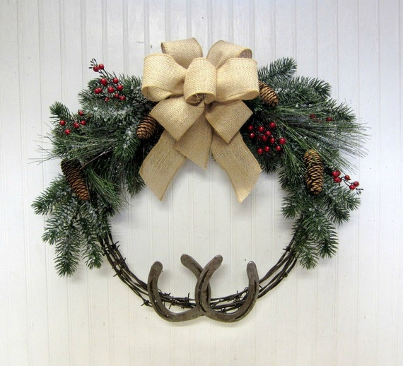 Rustic Country Western Christmas Barb Wire And Horseshoe