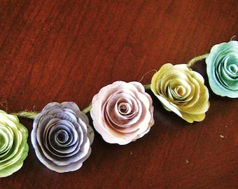 pastel paper flower garland spiral book page roses wedding farmhouse decor
