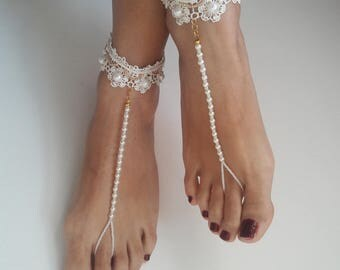 ivory, Bead processing, pearly,Foot accessory  wedding, Bikini, Bridal Sandals, Bridal Jewelry, shoes Women, Beach, READY TO SHIP