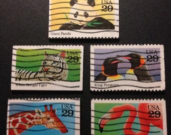 Five (5) Animal Recycled Postage Magnets: Panda, white tiger, flamingo, giraffe, penguin