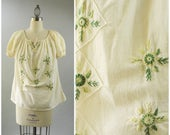 Vintage Embroidered Blouse White Cotton Blouse  Ethnic Boho Top Hand Embroidered Green 3D Flowers Size Large Off Shoulder Neckline