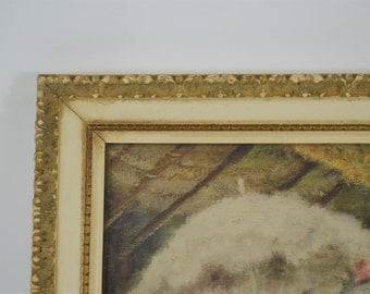 Vintage Art Frame Old Gesso Frame White and Brown Antique Holds 11 X 14 with French Girl Print