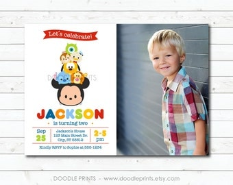 "Tsum Tsum Mickey Birthday Party Invitation, Disney Tsum Tsum Picture Invitation, Customized Printable Invitation Party, size 5x7 4x6"""