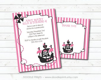 PIRATE Girl Invitation, Birthday Party Invitation & Thank You Card, Printable Invitation, Pink Princess Pirate Invitation Design 5x7 or 4x6