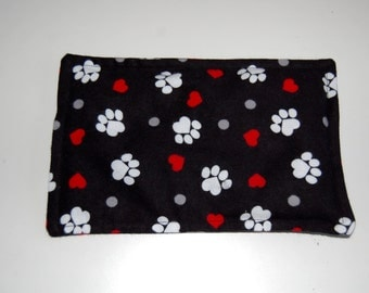 SALE, Rice Heating Pad / Ice Pack, 5 X 8 Love Paws, Cat, Dog