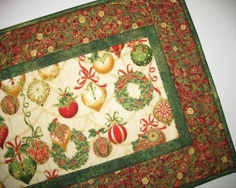 Christmas Table Runner, Ornaments, quilted, fabric  from Holiday Flourish