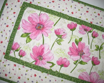 Spring Table Runner, Floral, Easter, quilted, Summer, table linens, fabric from Red Rooster