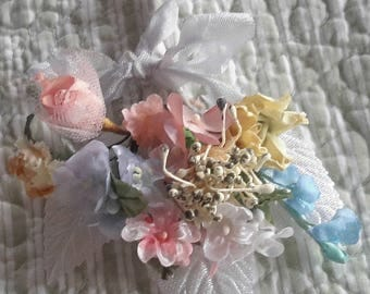 mini cloth flower BOUQUET vintage millinery 12 stems ribbon nosegay tussie mussie