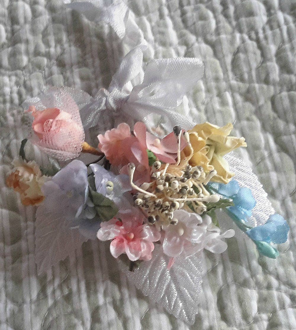 Mini Cloth Flower Bouquet Vintage Millinery 9 Stems Ribbon