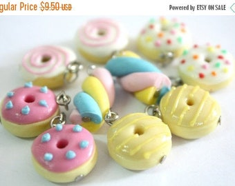 Miniature Polymer Clay Foods Supplies Donuts & Candy for Beaded Jewelry Charm 10 pcs