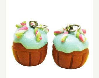 6 Miniature Candy Cupcake Polymer Clay Foods Supplies for Beaded Jewelry Charms