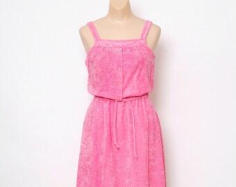Vintage 70s Dress / Terrycloth dress /Vintage Dress / dress / retro / 1970s / Dresses / 80s / Swim cover up dress / beach dress / pink dress